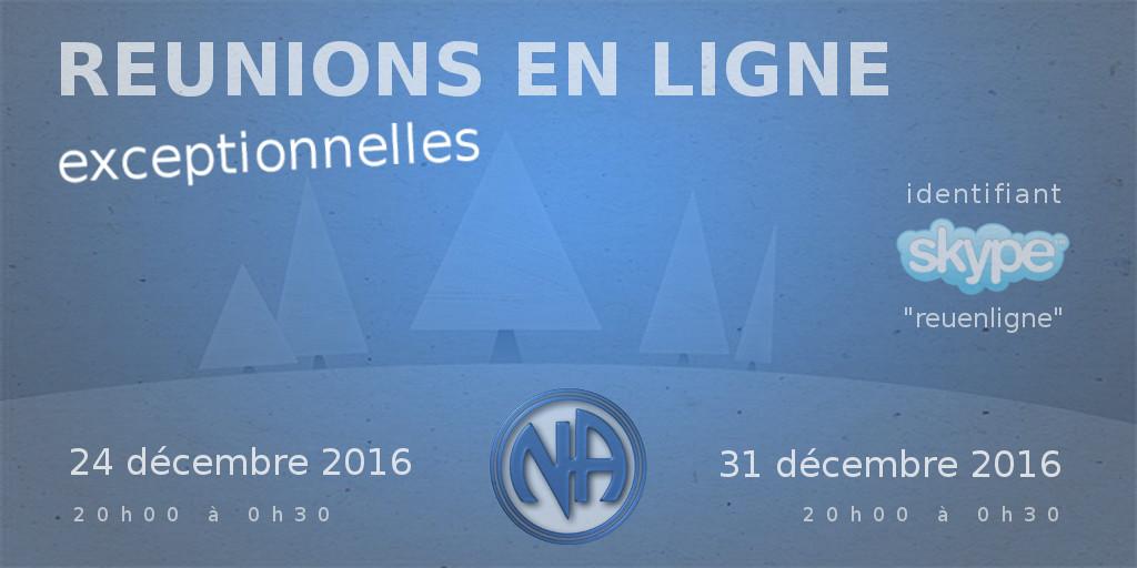 Réunions en ligne de Narcotiques Anonymes des fêtes de fin d'année 2016
